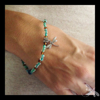 Dragonfly Bracelet with Green and Amber Beads on Wire B10
