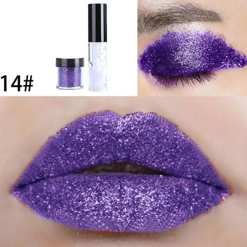 Shimmer Glitter Lip Gloss Powder Palette Glitter Lipstick Cosmetic Eye Shadow