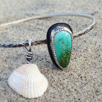 Mar y Tierra Bangle // Sterling Silver, Natural Turquoise and Sea Shell