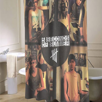 5sos 5 second of summer somewhere new custom shower curtain for bathroom ideas