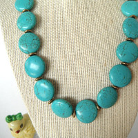 Turquoise Blue Green Coin Shaped Stones with by SycamoreSticks