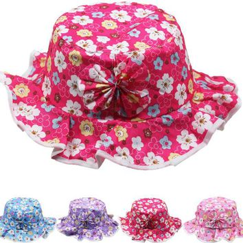 Children's Floral Bucket Summer Hat with Bow - CASE OF 72