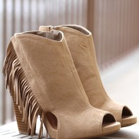 I'm Fringin' Out Peep Toe Suede Heel Booties (Taupe)