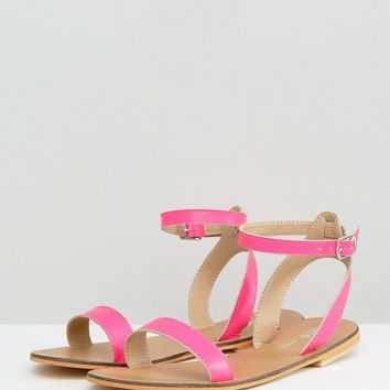 ASOS FELON Leather Flat Sandals at asos.com