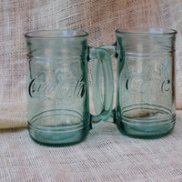 Green tinted Coca Cola Glasses- set of 2