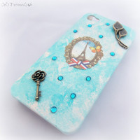 Paris in Spring iPhone case, shabby chic phone case, blue smartphone accessory, romantic gift for her