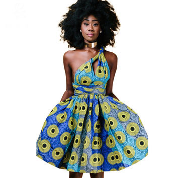 summer autumn 2016 African dresses for women cotton wax printing ankara clothing sexy Multiple Wear method dress party dresses