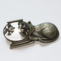 JJ Signed Cat with Fishbowl Brooch Pewter Tone Vintage