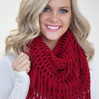 Snow Day Infinity Fringe Scarf - Red