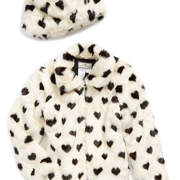 Girl's Widgeon Heart Print Faux Fur Jacket & Hat,