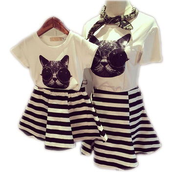 Family Clothes Sets Matching Mother And Daughter Dress 2017 Summer Short-Sleeve T-Shirts Striped Mother Daughter Dresses