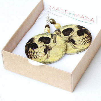 Halloween Skull  Earrings ,Skeleton Steampunk Spooky  Whimsy , size 4cm Ø, gift for her under 25