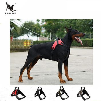 TAILUP Large Dog Harness POLICE K9 Collies Collar Camouflage Oxford Vest Dog Training Pet Saddle Harness S/M/L/XL
