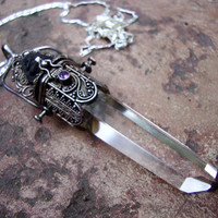 HUGE wishbox secret compartment magical gothic style sterling silver quartz point with amethyst and volcanic stone