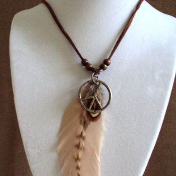 Tribal Peace Feather Pendant