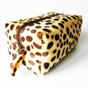 Brown Polka Dot Box Bag,Cosmetic Bag,Makeup Bag,Toiletry Bag,Lunch Bag,Knitting Bag,Diaper bag Gift For Her,Him,Boys,Girls,Men,Women,Mothers