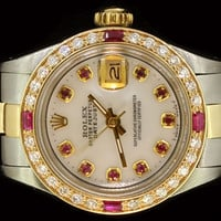 Rolex Ladies Datejust Oyster Stainless Gold Diamond Ruby Dial Automatic Luxury