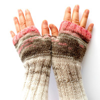 Arm Warmer Knitting Fingerless Gloves / Batik colors / Cream and red / Arm Mittens  / Valentines days. Spring fashion