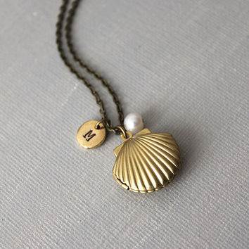 Sea Shell Locket with Pearl and Initial Tag Necklace. Mother's Day Gift