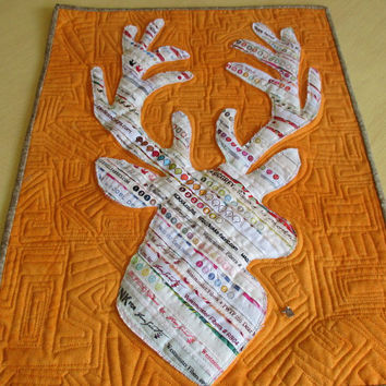 Deer Art Quilt , Woodland Wallhanging , Stag Head Wallhanging