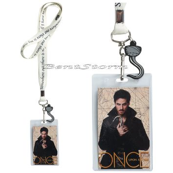 Licensed cool ABC Disney Once Upon a time Captain HOOK Lanyard ID Card Pin Holder W/ Charm NEW