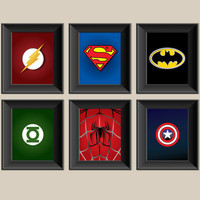 Set of 6 Superhero Prints - Superman - Batman - Spiderman - Captain America - Green Lantern - Boys Room Decor - Kids Room Wall Art
