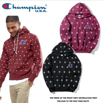 ONETOW Champion small LOGO printing dotted hooded hedging straight sweater men and women couple coat