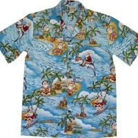 Medium Blue EXCLUSIVE Christmas Hawaiian Shirt With Santa Surfing