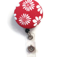 Fabric Covered Retractable Badge Reel Red Floral Print Keychain Lanyard