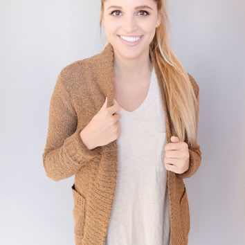 By the Fireplace Pocket Cardigan Mocha