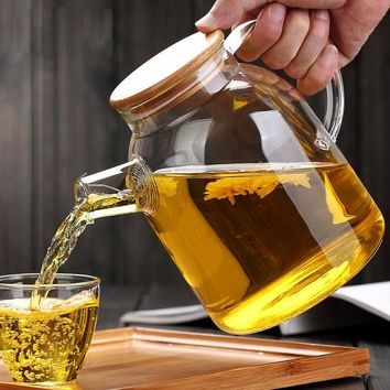CREYU3C High Capacity Glass Kettle Handcraft Water Jug Chinese Flower Teapot Filter Bamboo Lid Heat Resistant Stainless Steel Strainer