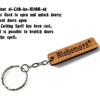 Wooden Engraved Alohomora Spell Keychain Personalized Original Keychain Wood Gift Oak Carved Unique Keyring Custom Laser Cutted Etched