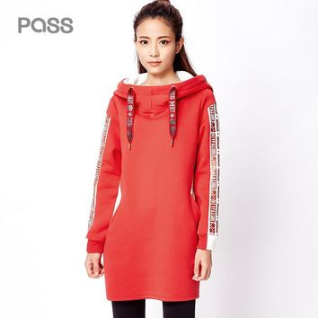 Winter Women Casual Dress Fashion Straight Stand Collar Letter Printed Dresses Female Cotton Hooded Dresses