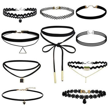 Vintage Chocker 3/4/6/8/9/10Pcs Stretch Velvet Gothic Lace Choker Maxi Necklace Punk Fashion  = 9922530502