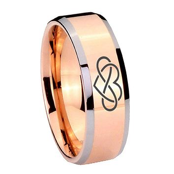 10mm Infinity Love Beveled Edges Rose Gold Tungsten Carbide Men's Band Ring