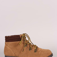 Qupid Suede Lace Up Work Ankle Boots