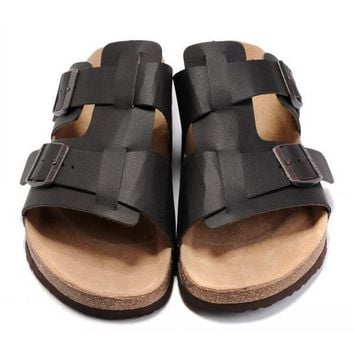 Birkenstock Leather Cork Flats Shoes Women Men Casual Sandals Shoes Soft Footbed Slippers-139