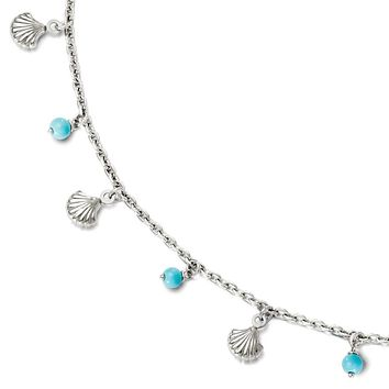 Sterling Silver Turquoise Bead And Sea Shell Dangle Anklet, 9-10 Inch