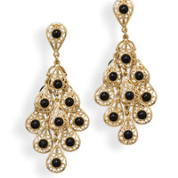 14 Karat Gold Plated Fashion Earrings with Simulated Black Onyx
