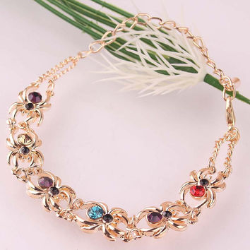 Unique Stylish Women Gift Party New 14k Gold Filled Multiple Spider Colorful Chain 230mm Bracelets Anklets Jewelry