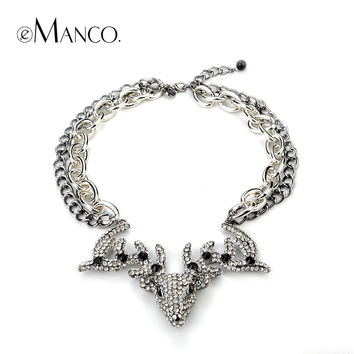 Crystal Deer head pendants Hipster Double chain necklace eManco 2014 vintage jewelry statement necklaces women jewelry NL07212