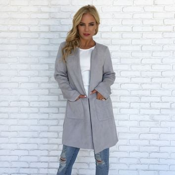 The New Yorker Suede Coat in Grey