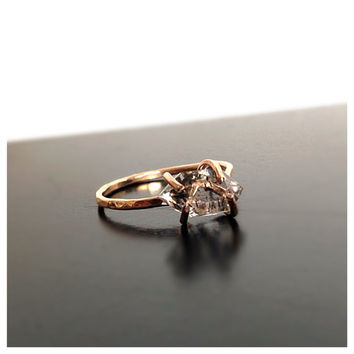Raw Herkimer Diamond Engagement Gold Ring by camilaestrella