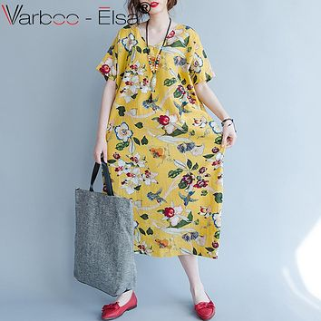 VARBOO_ELSA cotton linen vintage dress 2017 summer print floral elegant beach dress short sleeve loose Maxi Long Dress Vestidos