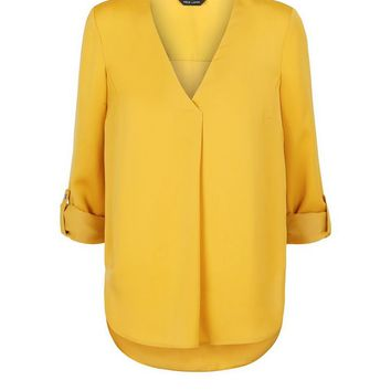 Yellow Satin V Neck Shirt | New Look