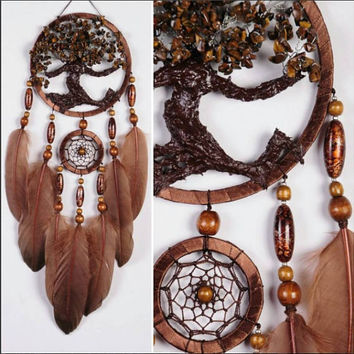 Brown Dream Catcher Tree of life Dreamcatcher tiger eye brown Dream сatcher tiger eyes wall handmade gold Brown gift small dream catchers