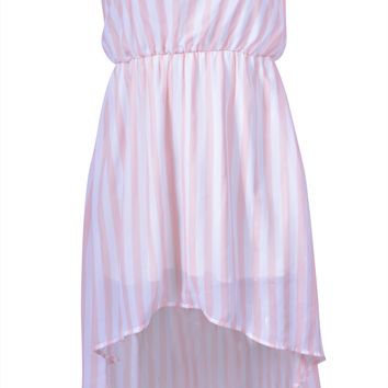 Women Colors Striped Strapless Tube Dress Tunic Chiffon Sheer Hi-Low Mini Skirt