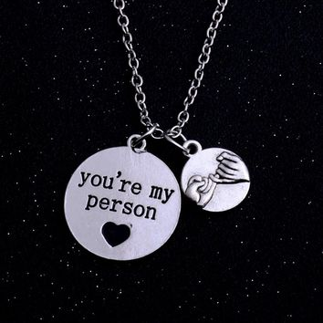 New Letter Stamped You Are My Person Necklaces Hand in Hand Forever Love Pendant For Lover Couple Promise Jewelry Valentine Gift