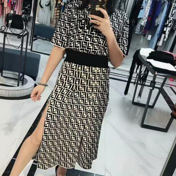 FENDI New Fashion Women Black White Color Double F Letter Print Short Sleeve Top Skirt Two Piece Set I12817-1