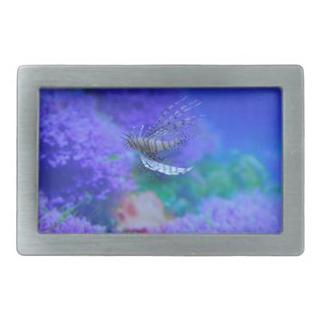 Lionfish Aquarium Fish Purple Pterois Zebrafish Rectangular Belt Buckle